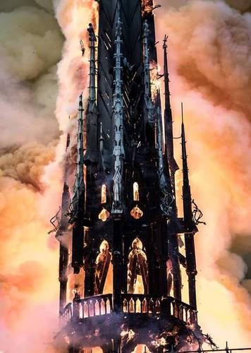 The ongoing fire at Notre-Dame Cathedral in Paris is affecting the entire structure.