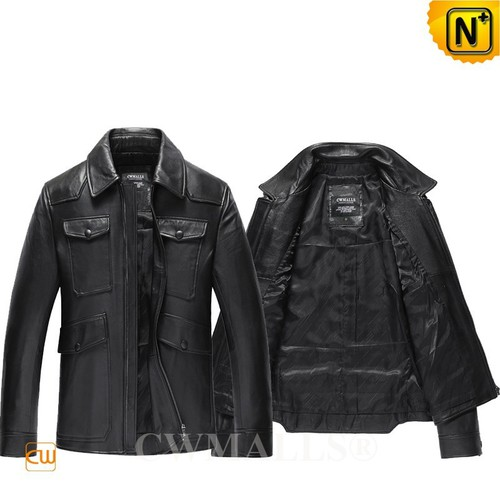 Men Leather Jacket | Black Fitted Leather Biker Jacket CW807008 | CWMALLS.COM