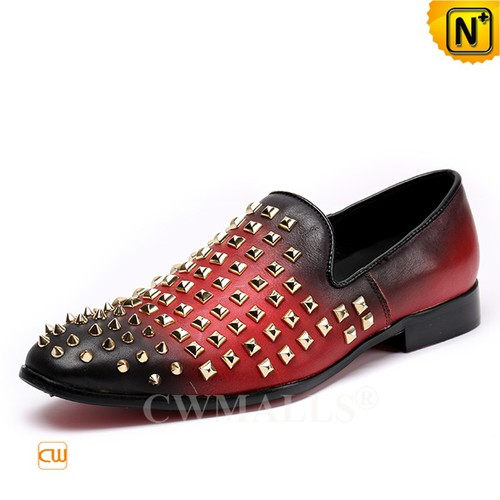 Men Leather Shoes | Men Studded Red Leather Loafers CW719105 | CWMALLS.COM