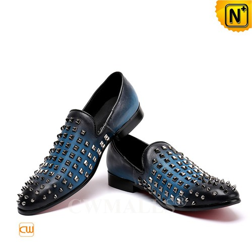 Men Leather Loafers | Studded Formal Leather Loafers CW719106 | CWMALLS.COM