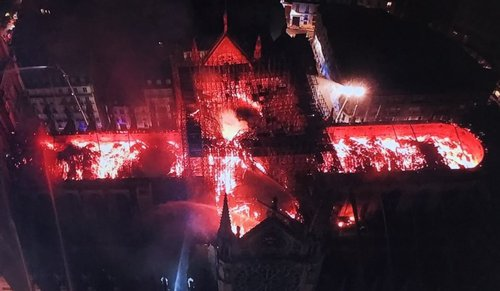IMAGE: Notre Dame Cathedral burning