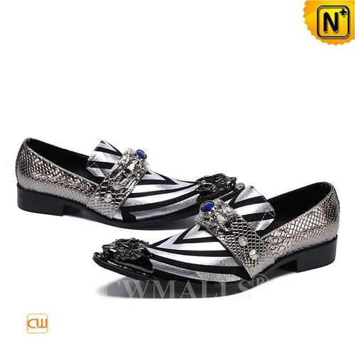 Father's Day Gifts | Zebra Printed Mens Leather Loafers CW719054 | CWMALLS.COM