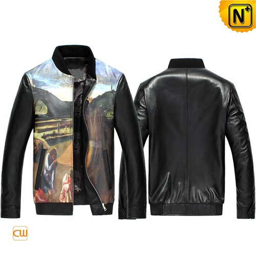 Father's Day Gifts | Mens Printed Leather Bomber Jacket CW890026 | CWMALLS.COM
