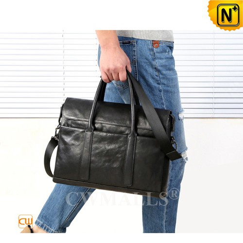 Leather Bags | Black Leather Laptop Briefcase CW909155 | CWMALLS.COM