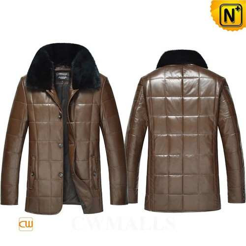 Custom Father's Day Gifts | Fur Trim Leather Down Jacket CW846060 | CWMALLS.COM