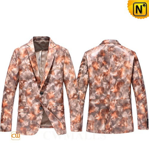 Father's Day Gifts | Mens Two-Button Printed Leather Blazer CW816128 | CWMALLS.COM