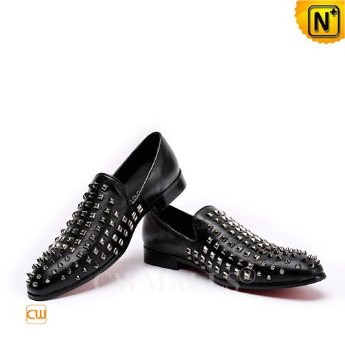 Men Leather Shoes | Black Studded Leather Dress Loafers CW719108 @CWMALLS