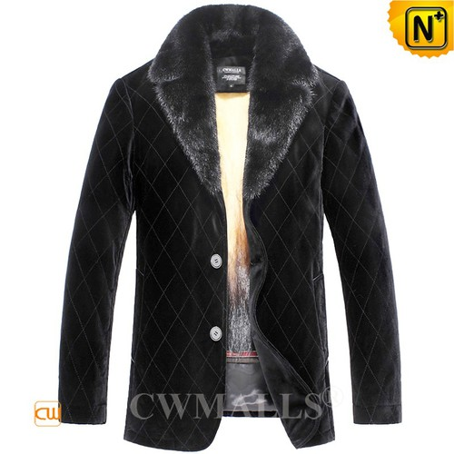 Men Fur Coat | Custom Quilted Fur Lined Coat CW890122 | CWMALLS.COM