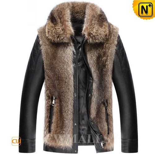 Fur Leather Jacket | Custom Men Fur Leather Jacket CW890318 | CWMALLS.COM