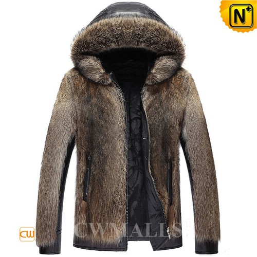 Fur Leather Jacket | Custom Mens Raccoon Fur Parka CW890317 | CWMALLS.COM