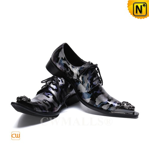 Men Leather Shoes | Mens Lace up Camo Printed Leather Shoes CW719278 | CWMALLS.COM