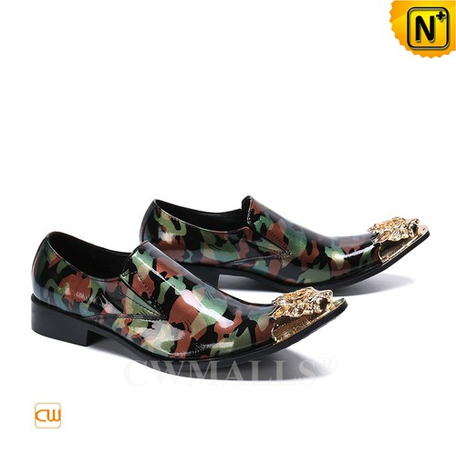 Men Leather Shoes | Exotic Camo Printed Leather Dress Shoes CW719276 | CWMALLS.COM