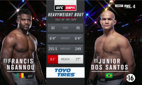 Francis Ngannou bat Junior Dos Santos en 71 secondes par TKO