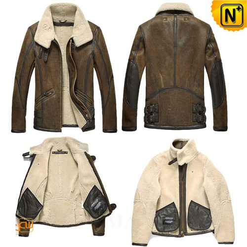 Men Sheepskin Jacket | Custom Sheepskin Bomber Jacket CW809215 | CWMALLS.COM