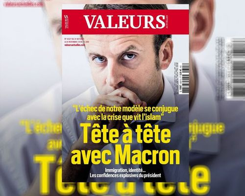 Emmanuel Macron accorde une interview exclusive à Valeurs Actuelles .