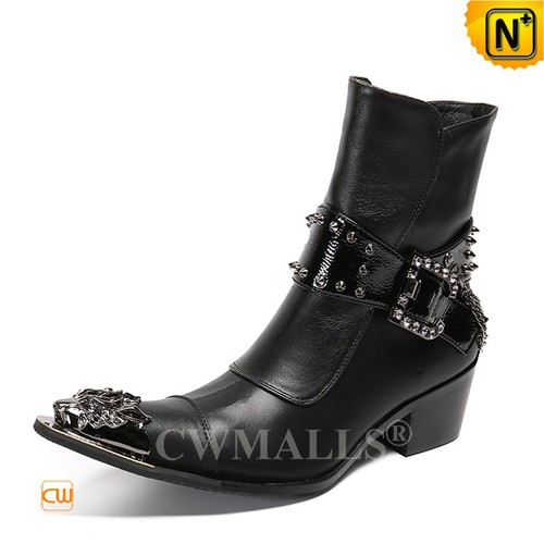 Leather Dress Boots | New Species | Mens Black Leather Zip up Dress Boots CW720083 | CWMALLS.COM