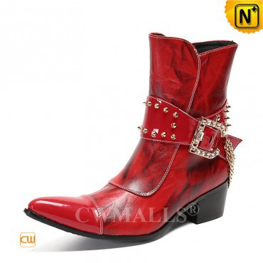 Men Leather Boots | New Species | Mens Zip up Red Leather Boots CW720080 | CWMALLS.COM