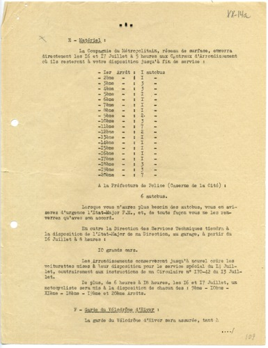 Rafle du Vel D'Hiv, 1942 : Liste du Matériel requisitionné