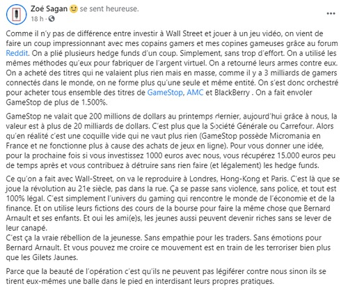 Post de Zoé Sagan au sujet de l'opération Gamesoft  Vs Wallstreet